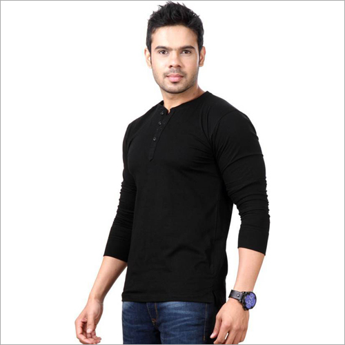 Mens Top Notch Solid Henley Black T-Shirt