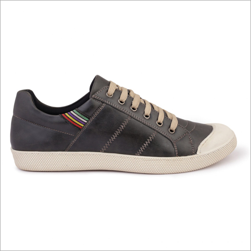 Mens Grey Color Synthetic Leather Sneaker Shoes