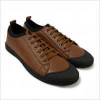 Mens Textured Low-Top Toggle Closure Brown Sneakers
