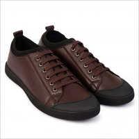 Mens Textured Low-Top Toggle Closure Dark Brown Sneakers