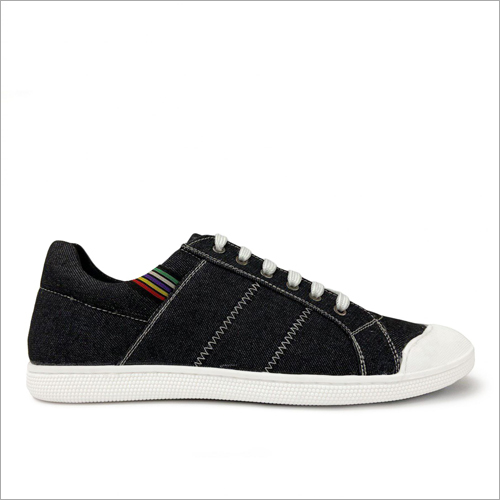 Mens Black Denim Textured Lace up Sneaker