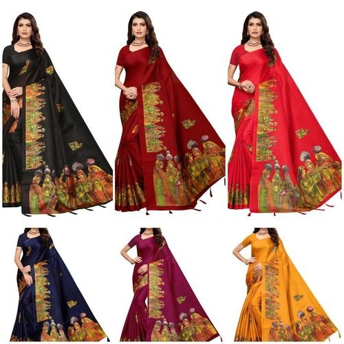 khadi silk printed  latkan saree