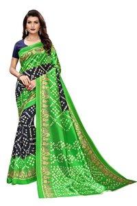 siffon bandhani style kalamkari silk saree