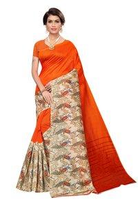new peacock print silk kalamkari saree