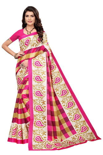 new checks print mysore kalamkari silk saree