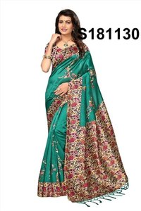 new silk jhalar style kalamkari silk saree