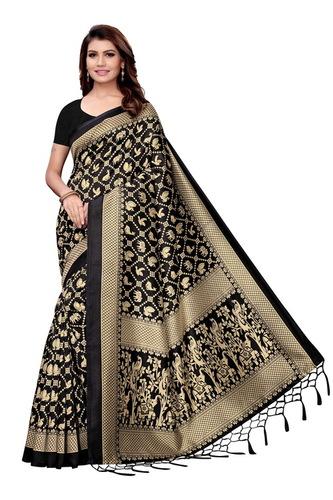 new small printed jhalar style kalamkari silk saree