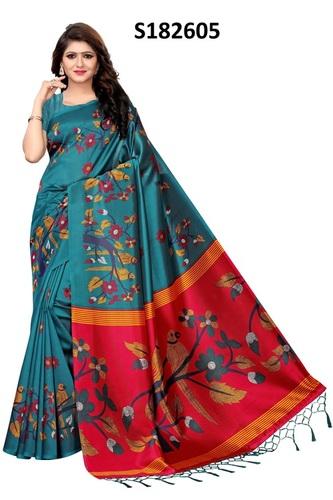 New big parrot print jhalar style kalamkari silk saree