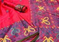 Monika  jute silk with aari mirror saree