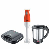 Prestige Breakfast Set PBS 01 - Electric Kettle, Sandwich Toaster and Hand Blender, Black