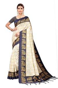 New checks & elephant print design jhalar style in kalamkari saree