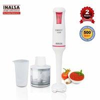 Inalsa Hand Blender Robot 5.0 CP 500-Watt Heavy Duty | 2 in 1 Hand Blender/Chopper | 2 Year Warranty| Low Noise DC Motor| 700 ml Multipurpose Break Resistant Measuring Cup