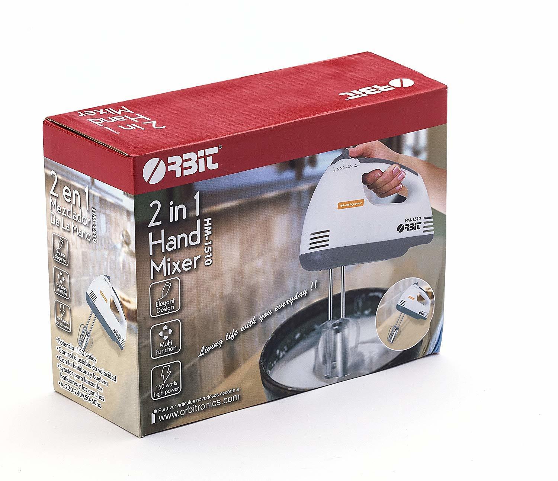 Orbit Abs Plastic Body 150 Watt 2 in 1 Hand Mixer, White