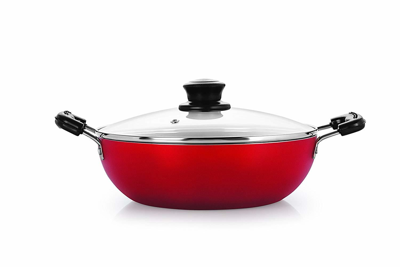 Nirlon Non-Stick Aluminium Kadhai, 2.4 litres, Red/Black