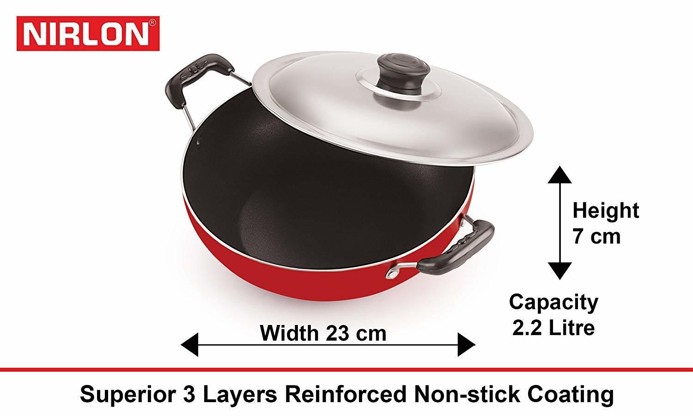 Nirlon Non Stick 3 Piece Combo Set Aluminium Red & Black