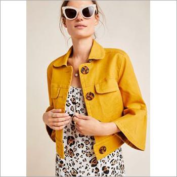 Ladies  Yellow Leather Jacket