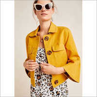 Ladies  Yellow Leather Jacket