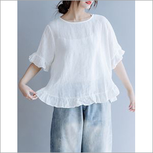 Ladies White Top With Frills