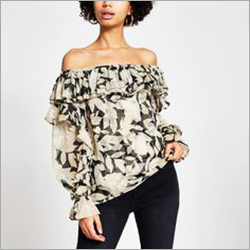 Ladies Off Shoulder Long Sleeve Frilled Top