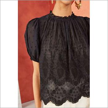 Ladies Short Sleeve Black Lace Top