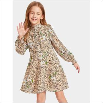 Girls Long Sleeve  Printed Dress