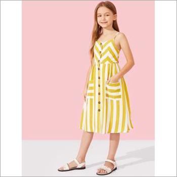 Girls Striped Strap Dress