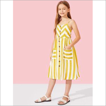 Girls Striped Strap Dress