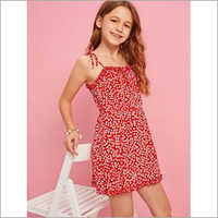 Girls Printed Strap Dress