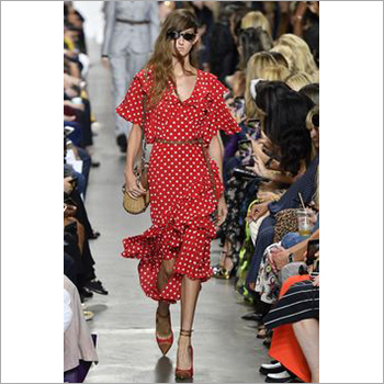 Ladies Satin Dress with Frills