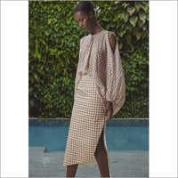 Ladies Yarn Dyed Checked Dress with Raglan Sleeves