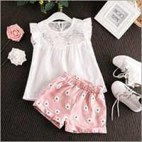 Baby Girls Printed Turn Up Shorts Dress Sets
