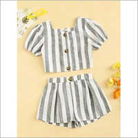 Toddler Girls Yarn Dyed Strip Shorts Dress Sets