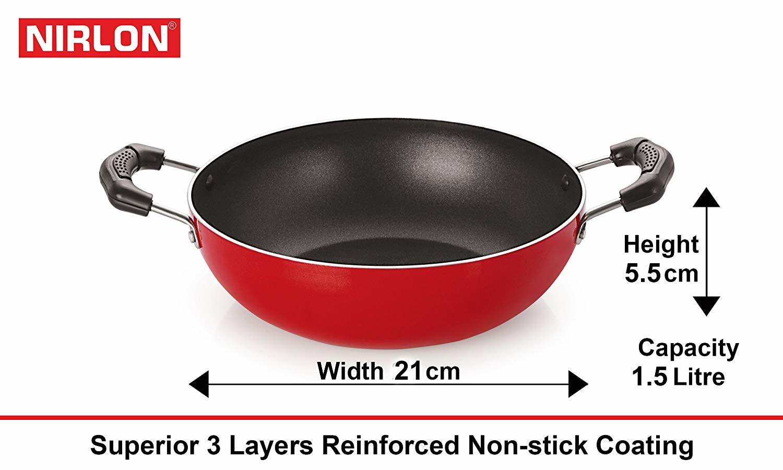 Nirlon Non-Stick Frying Pan and Kadai Combo Set 2.6mm