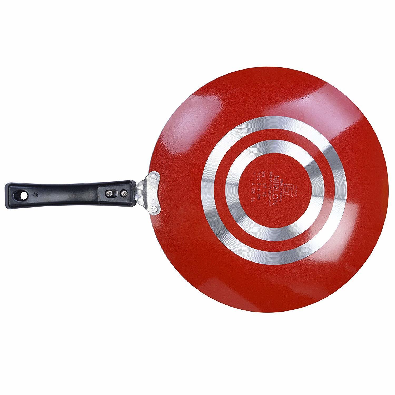 Nirlon Aluminium Non-Stick Concave Roti Tawa, 26cm, Red/Black