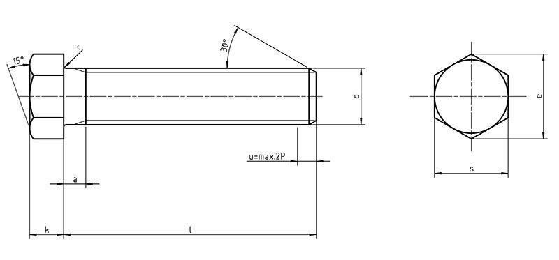DIN70614 Hexagon bolts with small widths across flats full thread