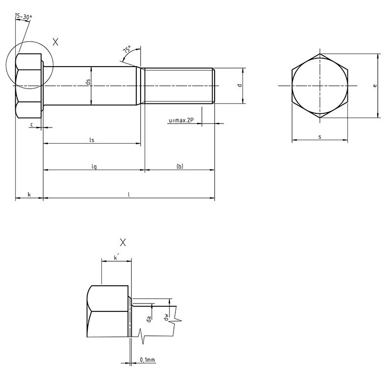 DIN 7968  Hexagon fit bolts with hexagon nut