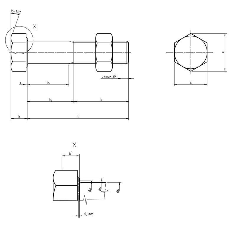 DIN 7990  Hex  head bolts