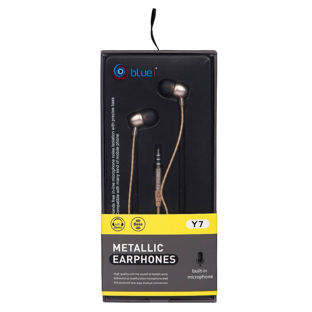 METALLIC Y7  HEAVY BASS STEREO BLUEI EARPHONE