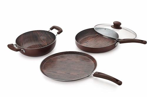 Nirlon Aluminium Nonstick Woody Cookware Set, 4-Pieces, Brown