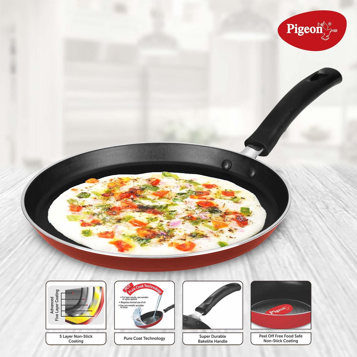 Pigeon by Stovekraft Basics Induction Base Non-Stick Aluminium Cookware Set, Terracotta Brown