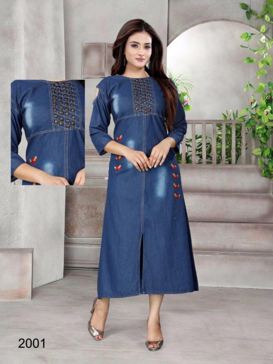 Denim 100% Cotton Long Gown