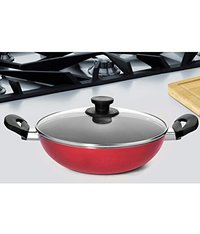 Pigeon by Stovekraft Mio Aluminum Kadai with Lid, 240mm, Red