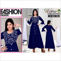 Ladies Blue Color Kurti Palazzo
