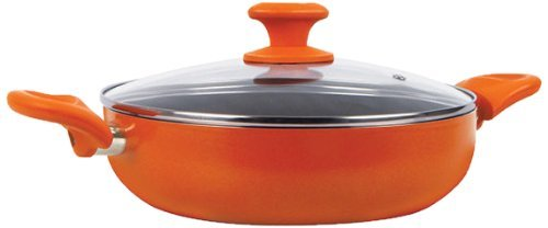 Prestige Creme Non-Stick Curry Pot, 24cm, Orange
