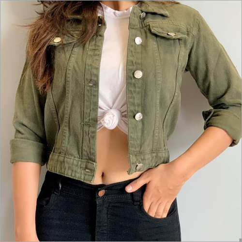 Designer Olive Green Denim Jacket
