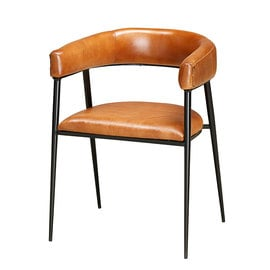 Modern Iron & Leather Dining Chair