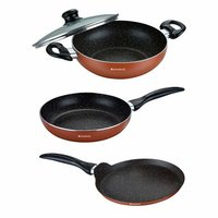 Wonderchef Athena Cookware Set, 3-Pieces, Brown