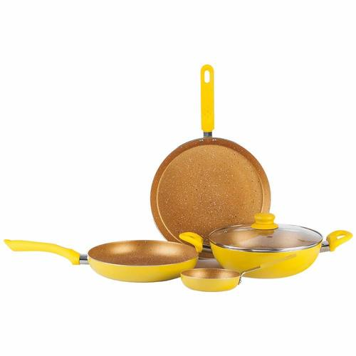 Wonderchef Da Vinci Aluminium Pan Set, 4-Pieces, Yellow