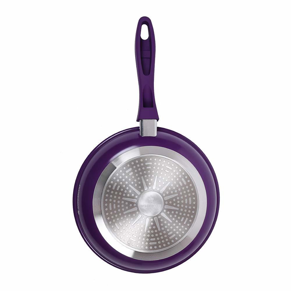 Wonderchef Induction Base Non-Stick Aluminum Elite Fry Pan, 20cm, Purple and Black