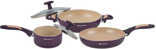 Wonderchef Burlington Aluminum Set, 5 Piece Set, Maroon/Beige